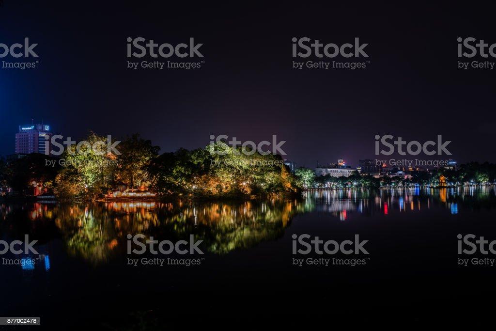Ngoc Son Temple at night stock photo