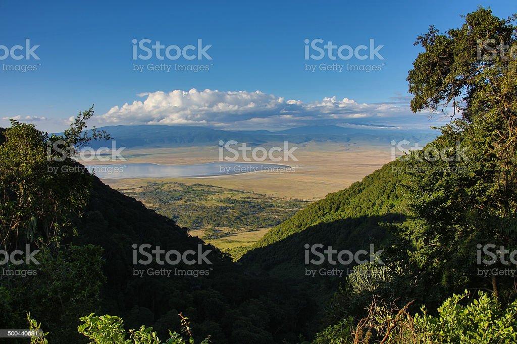 Ngorongoro Crater Tanzania overview stock photo