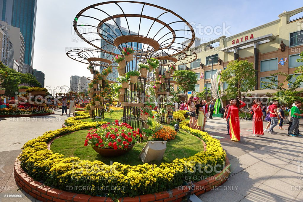 Nguyen Hue street walk in the Lunar New Year stock photo