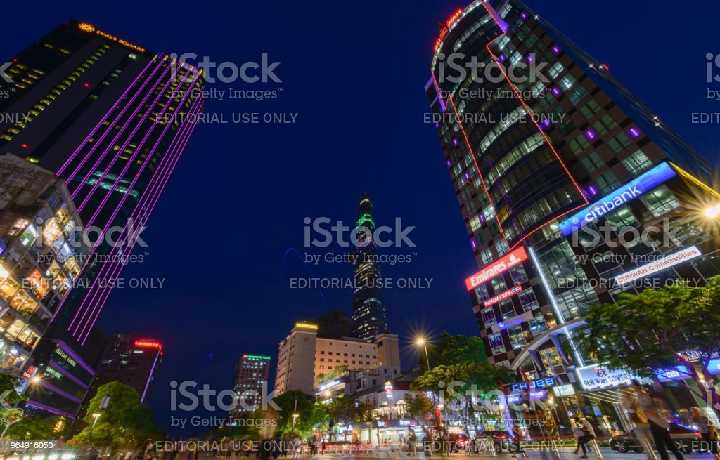Nguyen Hue street walking with many luxurious commercial royalty-free stock photo
