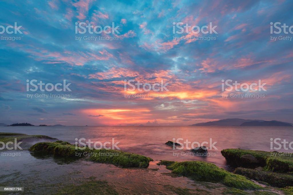 Nha Trang Bay Sunrise Sky Vietnam royalty-free stock photo