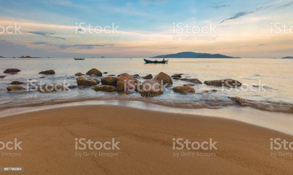Nha Trang Bay Sunset Evening Sky Vietnam stock photo
