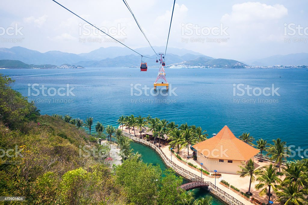 Nha Trang cable car, Vietnam stock photo