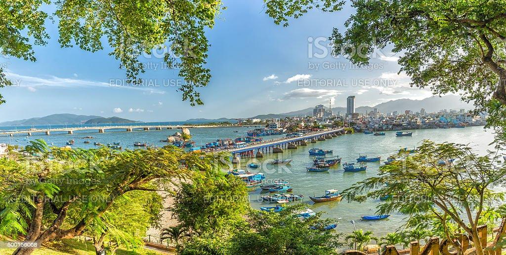 Nha Trang panoramic marina spring afternoon stock photo