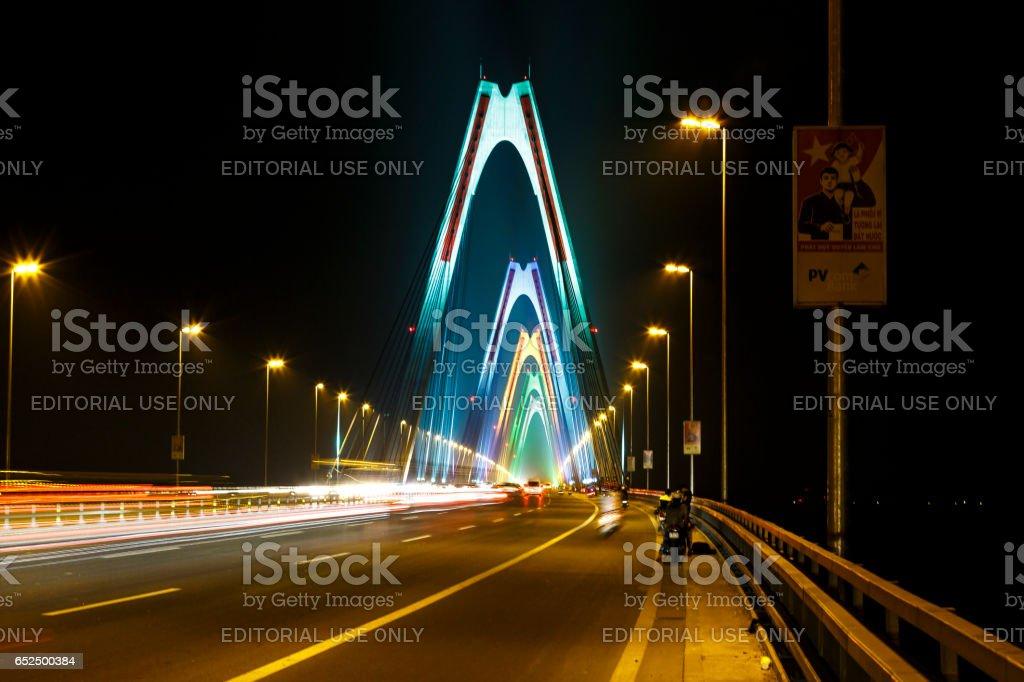 Nhat Tan bridge over Hong Red river in Ha Noi capital, Vietnam stock photo