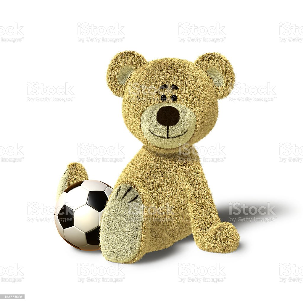 Nhi Bear Sitting on the Floor with a Ball, Side royalty-free stock photo