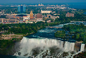 High angle view of Niagara falls with buildings .