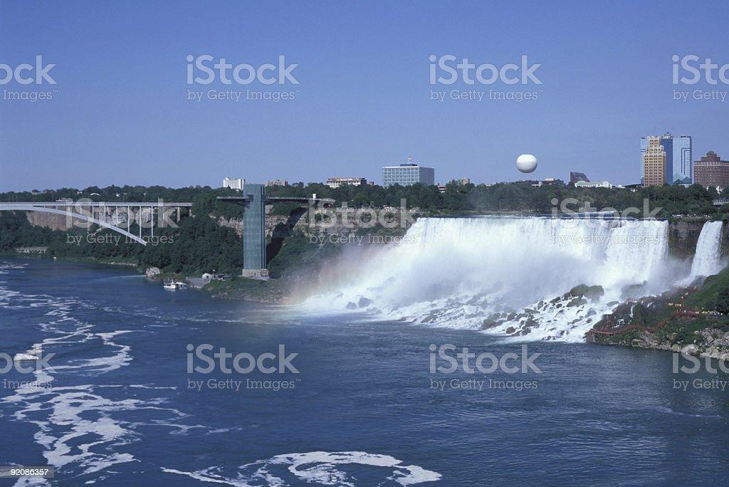 Niagara falls and Rainbow Bridge stock photo