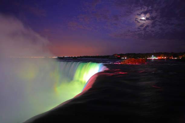 Niagara Falls at night. stock photo