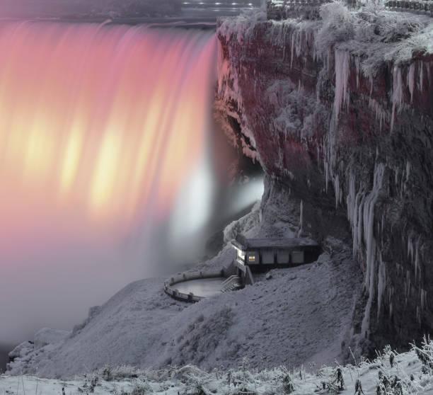 Niagara Falls at Night with Snow in the Winter, Ontario, Canada stock photo