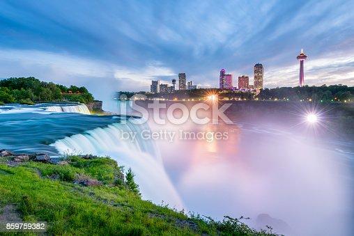 Niagara Falls around Sunset, captured in New York, USA looking towards Ontario, Canada.