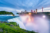 Niagara Falls around Sunset, captured in New York, USA looking towards Ontario, Canada.