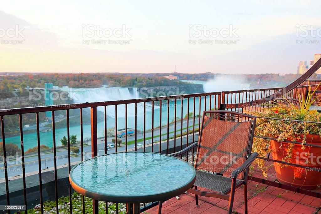 Niagara Falls Balcony Morning Views stock photo