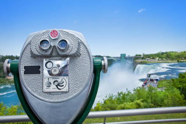 Niagara Falls Binoculars Binoculars that view Niagara Falls from the New York, USA side of the falls. rainbow bridge ontario stock pictures, royalty-free photos & images
