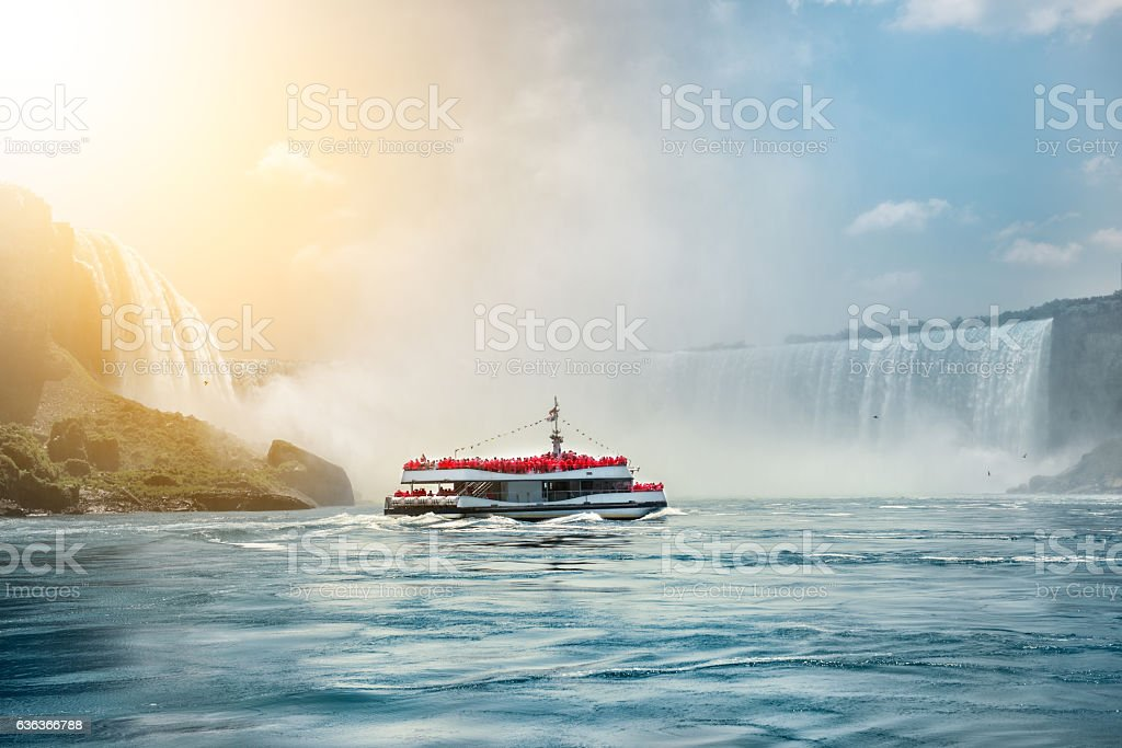 Niagara Falls boat tours attraction for tourists stock photo