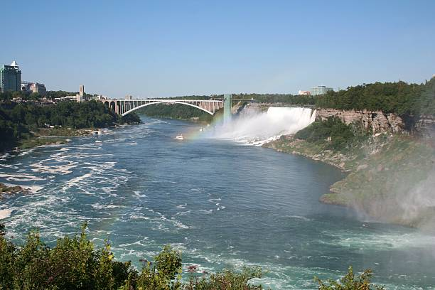 Niagara Falls Bridge Niagara Falls (American Falls) and Rainbow Bridge from Canada to USA rainbow bridge ontario stock pictures, royalty-free photos & images