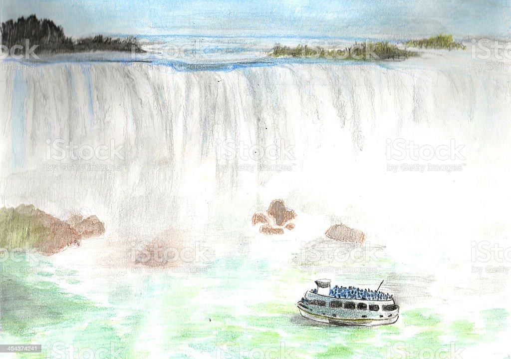 Niagara Falls Drawing royalty-free stock photo