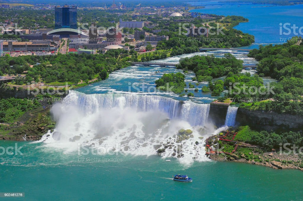 Niagara Falls from the US side. stock photo