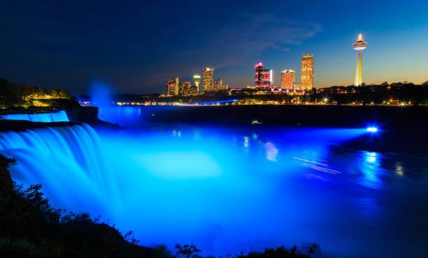 Niagara Falls illuminated at night with multicolored lights stock photo