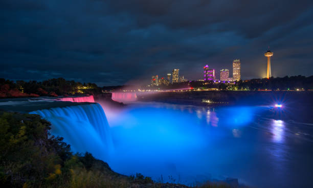 Niagara falls illuminated by blue lights at night Niagara Falls, NY, United States - Sep 24, 2018: The waterfalls between the US and Canada are illuminated with led lights with changing colours at night. rainbow bridge ontario stock pictures, royalty-free photos & images