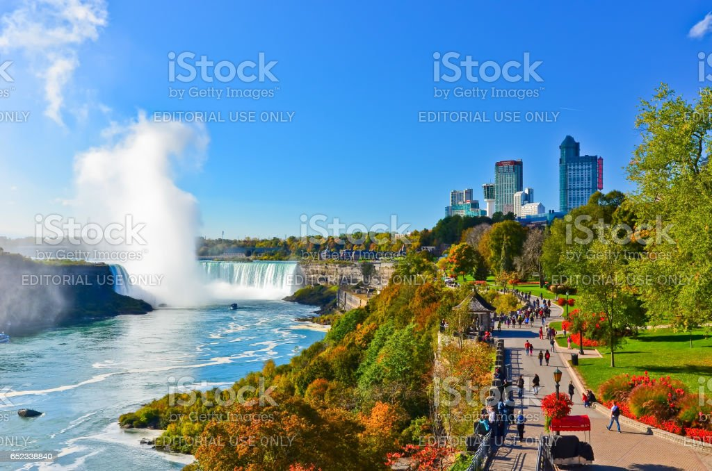 Niagara Falls in autumn in Canada stock photo