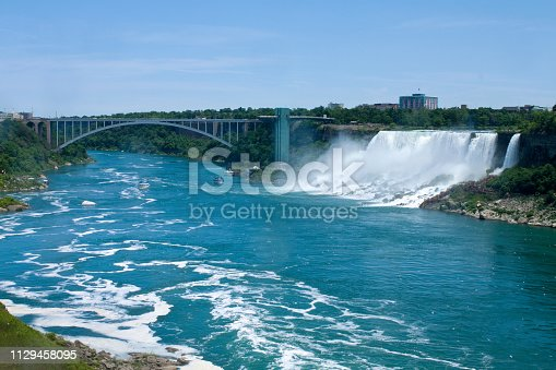 Scenes from the Canada side of Niagara Falls. The light blue skies and blue-green water make this a beautiful outdoor nature landscape. The national park borders Canada and New York State. This shot shows the American side of the falls taken in Canada with part of the Buffalo city skyline in the background. - A great shot taken in the outdoors.