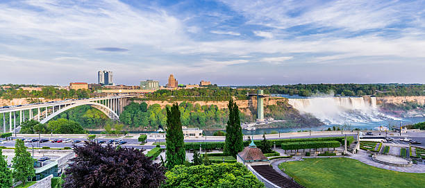 Niagara Falls, New York, USA Panoramic view of Niagara Falls, NY, USA rainbow bridge ontario stock pictures, royalty-free photos & images