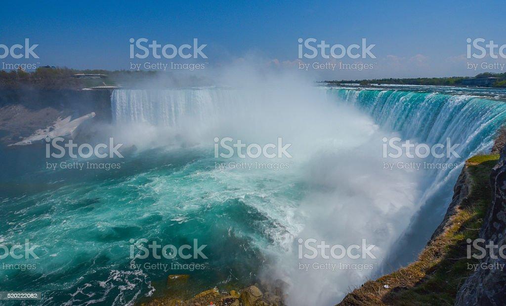 Niagara Falls Ontario.  Misty foggy spray of water rises up. stock photo