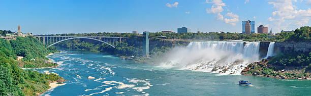 Niagara Falls Panorama Rainbow Bridge and American Falls over river with blue sky rainbow bridge ontario stock pictures, royalty-free photos & images