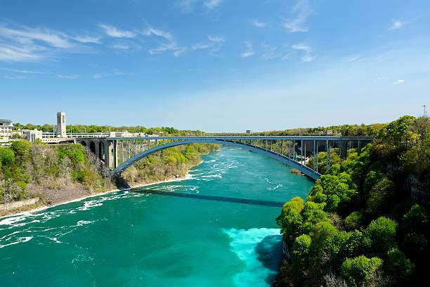 Niagara Falls USA-Canada border, Niagara Falls, New York, USA rainbow bridge ontario stock pictures, royalty-free photos & images