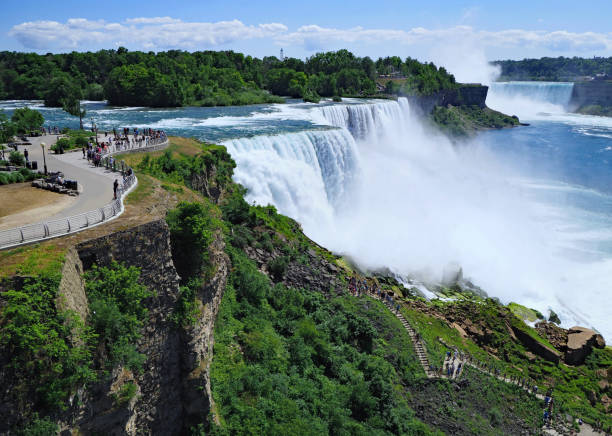 niagara falls, viewed on the american side - niagara falls stock photos and pictures
