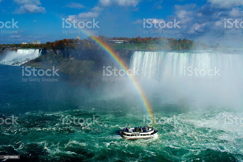Niagara Falls Waterfall and Rainbow with Boat stock photo