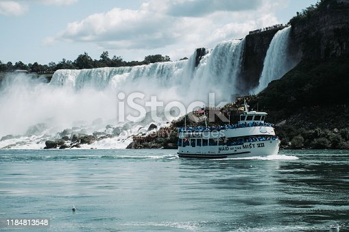 This is a photo of the US side of Niagara Falls with a boat full of people dressed in blue waterproof coats in the foreground.