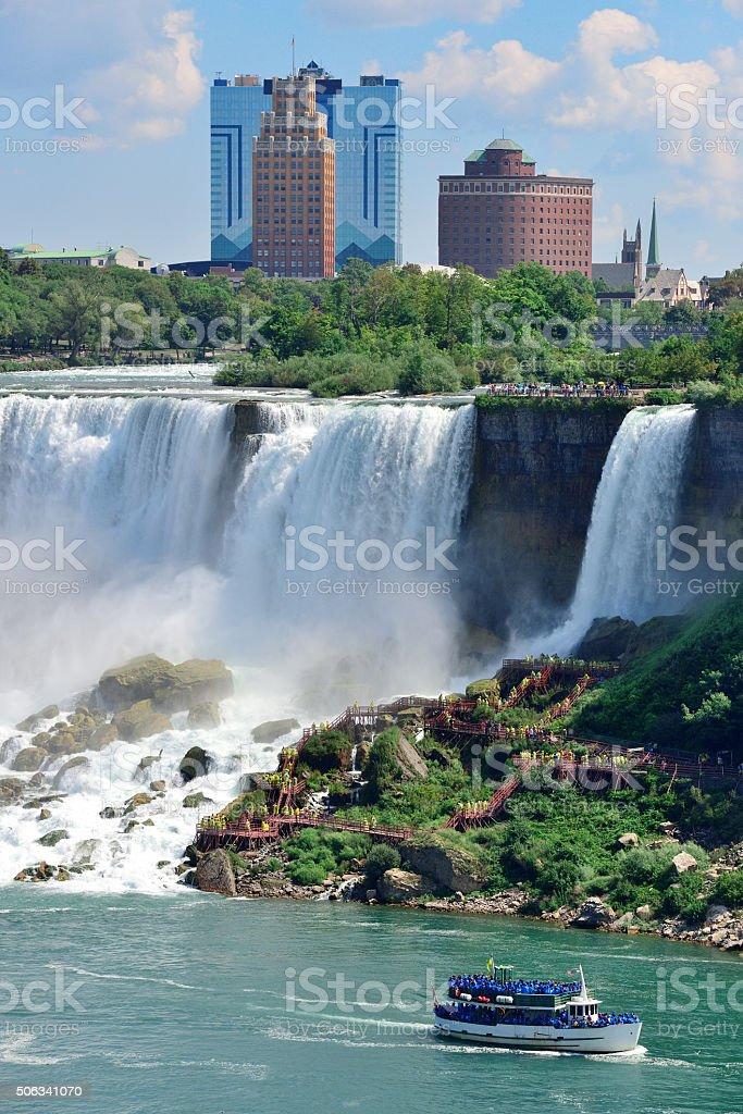 Niagara Falls with boat stock photo