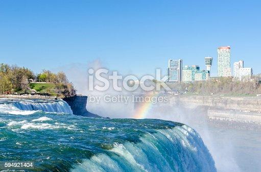 istock Niagara Falls with Rainbow, view from NY, USA 594921404