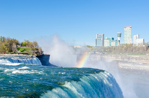 Niagara Falls with Rainbow, view from NY, USA