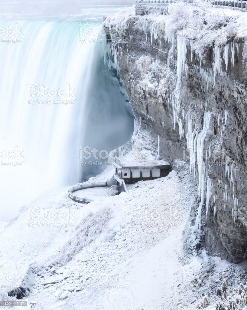 Niagara Falls with Snow in the Winter, Ontario, Canada stock photo