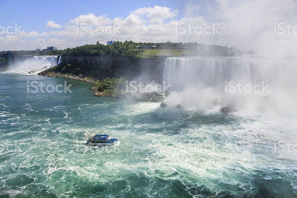 Niagara Falls with tour boat royalty-free stock photo