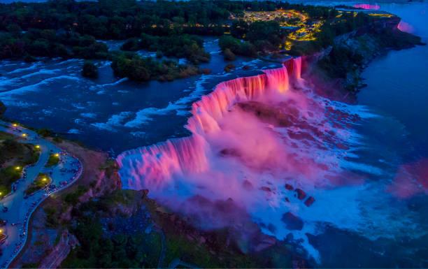 Niagara Falls,Dusk, Aerial NY stock photo