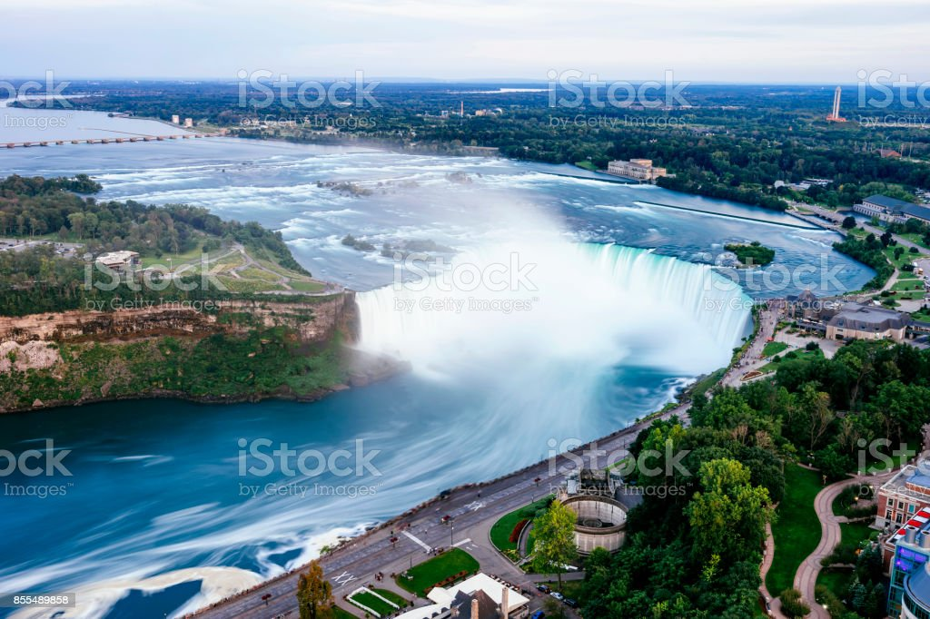 Niagara Horseshoe Falls from aerial point of view - Long exposure