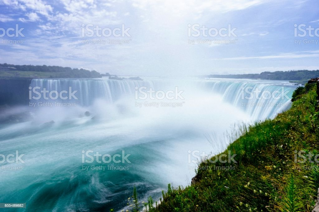 Niagara Horseshoe Falls from aerial point of view - Long exposure stock photo