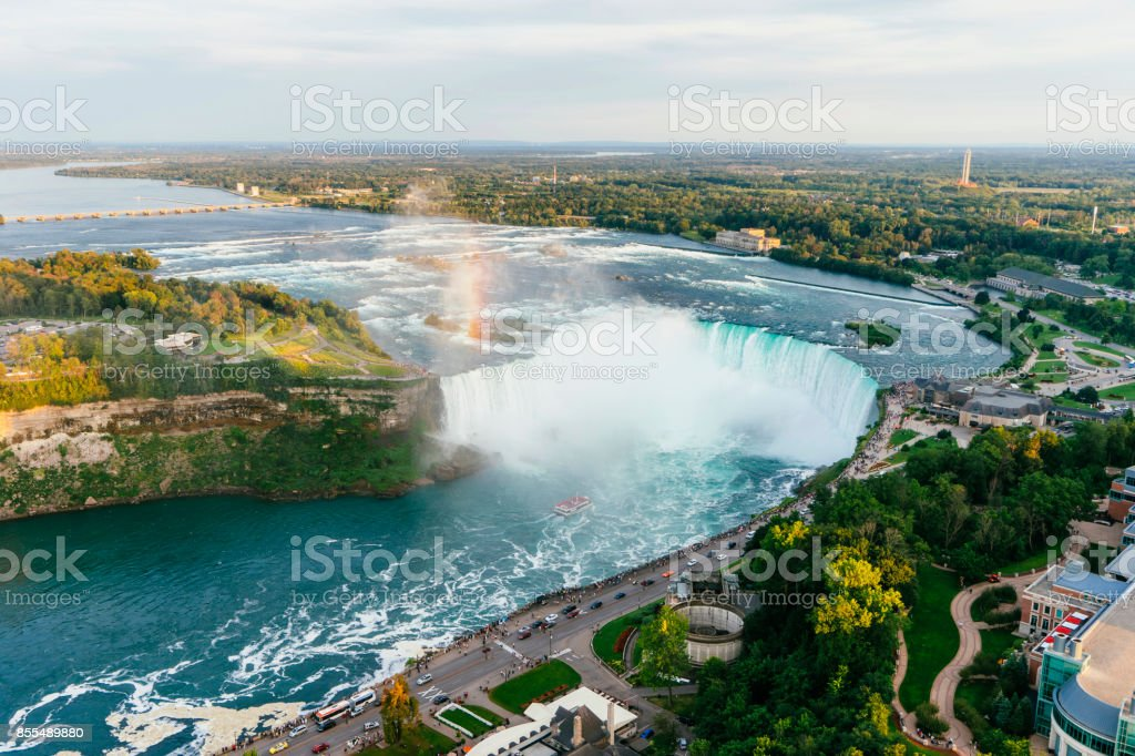 Niagara Horseshoe Falls from aerial point of view stock photo