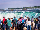 Niagara Horseshoe falls (close up) with tourists