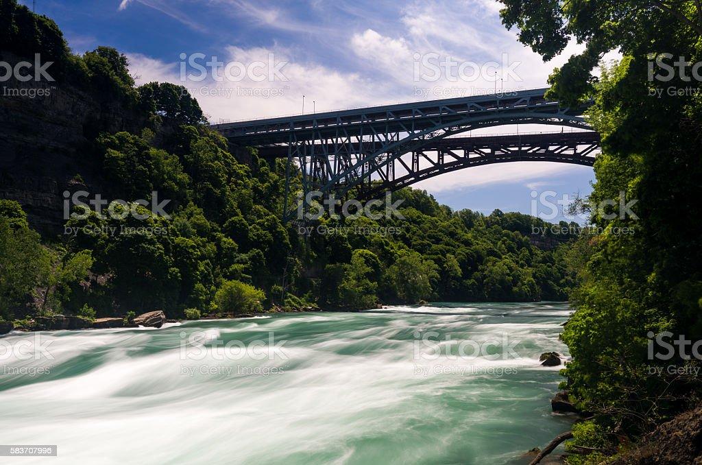 Niagara River at Whirlpool Bridge in Canada stock photo