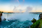 The beautiful Niagara waterfall at sunset.