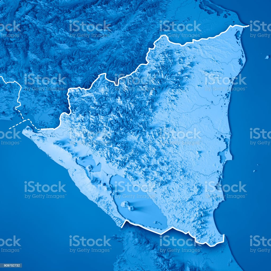 Nicaragua 3d Render Topographic Map Blue Border Stock Photo