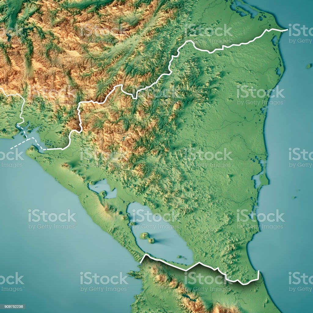 nicaragua 3d render topographic map border royalty free stock photo