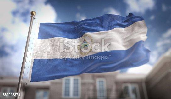 istock Nicaragua Flag 3D Rendering on Blue Sky Building Background 669253374
