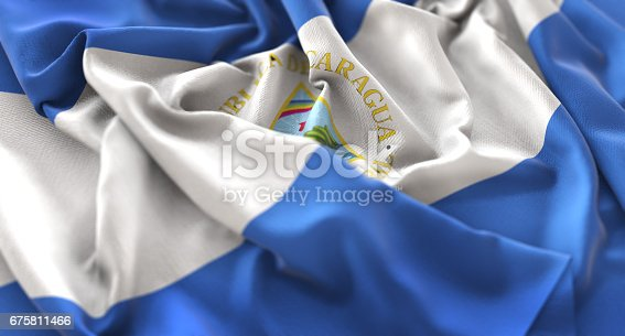 istock Nicaragua Flag Ruffled Beautifully Waving Macro Close-Up Shot 675811466