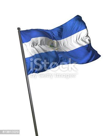 istock Nicaragua Flag Waving Isolated on White Background Portrait 813812020